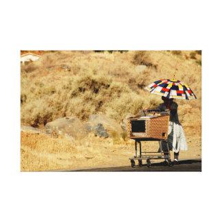Woman with Umbrella Photo Canvas Print
