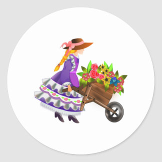 Woman with Wheelbarrow of Flowers Round Stickers