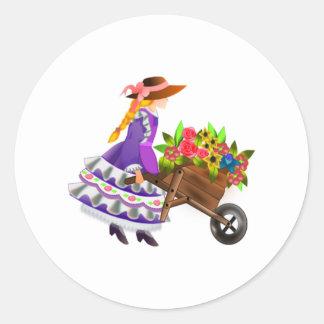 Woman with Wheelbarrow of Flowers Round Stickers