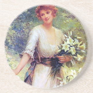 Woman with White Lilies painting Coaster