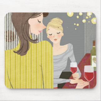 Woman with Wine Mouse Mat