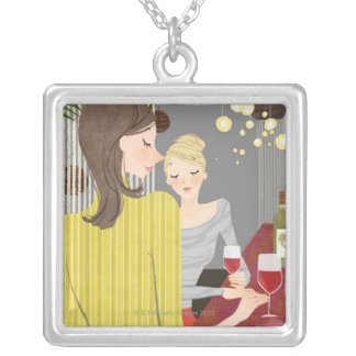 Woman with Wine Silver Plated Necklace