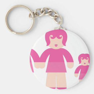 Woman Woman and children Basic Round Button Key Ring