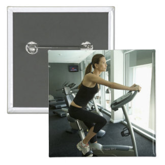 Woman working out in a gym 3 15 cm square badge