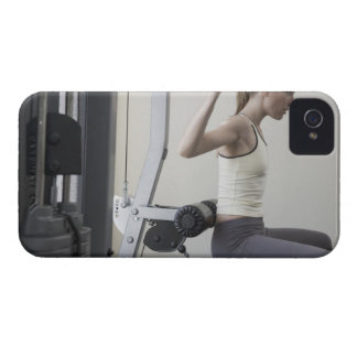 Woman working out with weights iPhone 4 Case-Mate cases