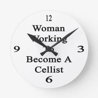 Woman Working To Become A Cellist Wallclocks