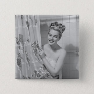 Woman Wrapped Up 15 Cm Square Badge