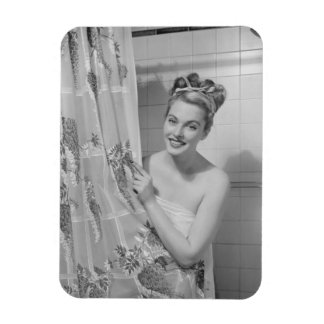 Woman Wrapped Up Rectangular Photo Magnet
