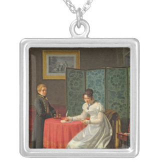 Woman Writing a Letter Silver Plated Necklace
