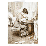 Woman Writing Letters 1911 Greeting Cards
