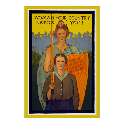 WOMAN Your Country Needs You WORLD WAR Print