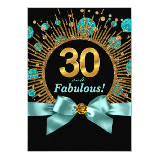Womans 30th Birthday Party Teal Blue and Gold 11 Cm X 16 Cm Invitation Card