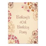 Woman's 40th Birthday Cute Modern Floral 13 Cm X 18 Cm Invitation Card