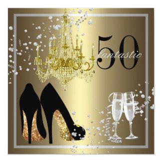Woman's 50th Birthday Celebration 13 Cm X 13 Cm Square Invitation Card