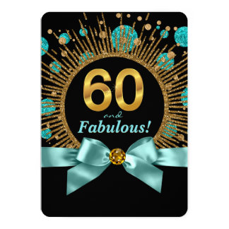 Womans 60th Birthday Party Teal Blue and Gold 13 Cm X 18 Cm Invitation Card