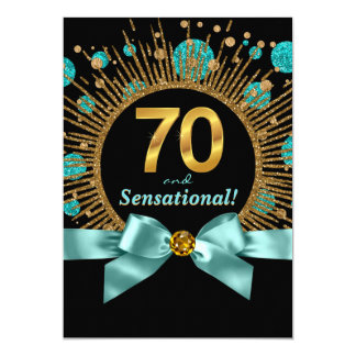 Womans 70th Birthday Party Teal Blue and Gold 13 Cm X 18 Cm Invitation Card