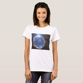 Woman's basic white t-shirt with blue orb
