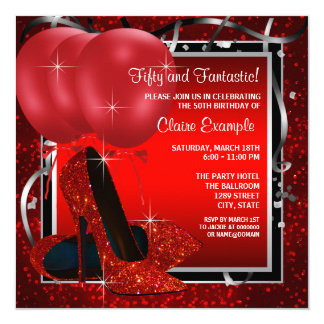 Womans Black and Red High Heels Birthday Party 13 Cm X 13 Cm Square Invitation Card