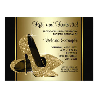 Womans Black Gold High Heels Birthday Party 4.5x6.25 Paper Invitation Card