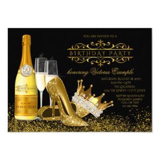 Womans Black Gold High Heels Princess Birthday 11 Cm X 16 Cm Invitation Card