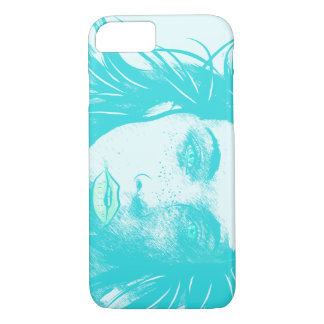 Woman's Blowing Hair, Teal iPhone 7 Case