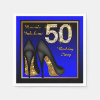Womans Blue and Gold 50th Birthday Party Disposable Serviettes
