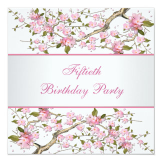 Womans Cherry Blossom Birthday Party Card