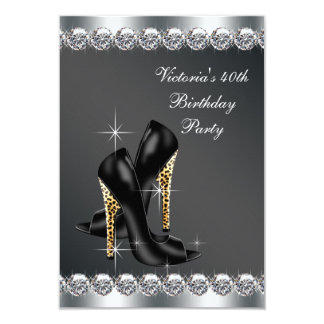 Womans Chic Black Birthday Party 9 Cm X 13 Cm Invitation Card