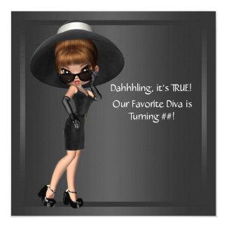 Womans Cute Diva Birthday Party 13 Cm X 13 Cm Square Invitation Card