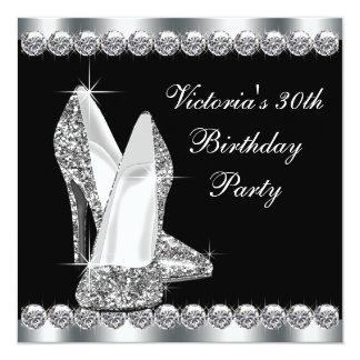 Womans Elegant Black 30th Birthday Party 5.25x5.25 Square Paper Invitation Card