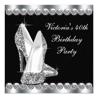 Womans Elegant Black Birthday Party 13 Cm X 13 Cm Square Invitation Card