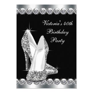 Womans Elegant Black Birthday Party 13 Cm X 18 Cm Invitation Card