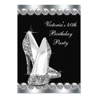 Womans Elegant Black Birthday Party Card