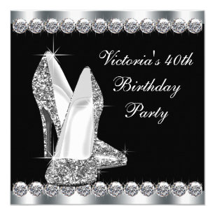 Black white 50th birthday party invitations announcements zazzle womans elegant black birthday party card filmwisefo Gallery