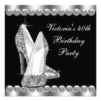 Womans Elegant Black Birthday Party Invitations