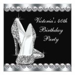 Womans Elegant Black Birthday Party Personalised Announcement