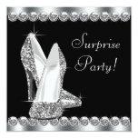 Womans Elegant Black Surprise Birthday Party Personalised Invitations