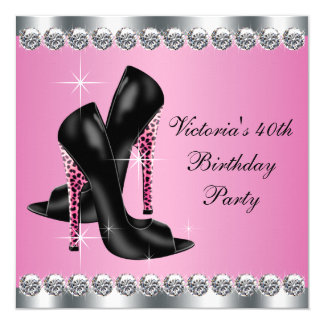 Womans Elegant Chic Pink Leopard Birthday Party 13 Cm X 13 Cm Square Invitation Card