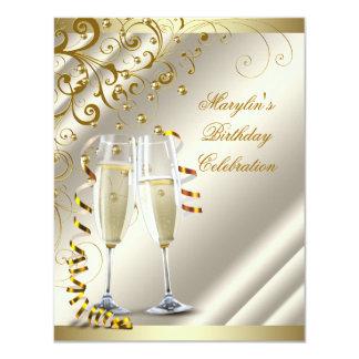 Womans Elegant Ivory Gold Birthday 11 Cm X 14 Cm Invitation Card