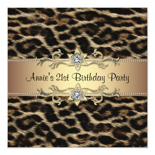 Womans Elegant Leopard 21st Birthday Party Card