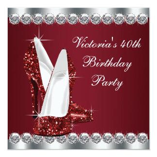 Womans Elegant Ruby Red Birthday Party 13 Cm X 13 Cm Square Invitation Card