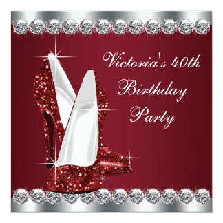 Womans Elegant Ruby Red Birthday Party Card