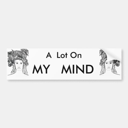 Woman's Face:  Big Heavy Hair with Designs Bumper Sticker