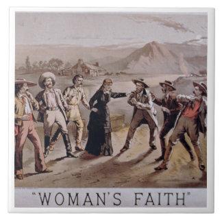 'Woman's Faith' (colour litho) Large Square Tile