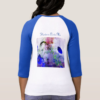Woman's Flower T-Shirt. Cornflower blue sleeves T-Shirt