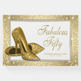 Womans Gold 50th Birthday Party Guest Book