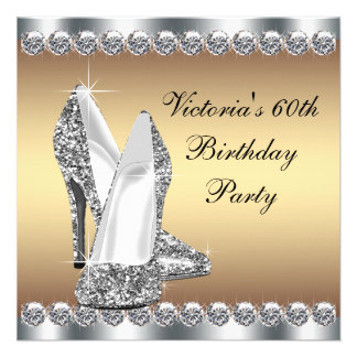 Womans Gold 60th Birthday Party Announcement