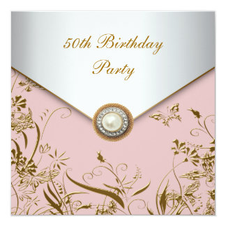 Womans Gold Butterfly 50th Birthday Party 13 Cm X 13 Cm Square Invitation Card