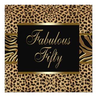 Womans Gold Leopard Zebra 50th Birthday Party Card