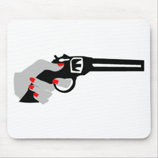 Woman's Hand and Gun Mouse Mat